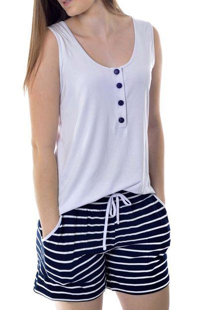 6e878afd2 Pijama Feminino Cavado com Abertura em Botões Short Doll Mania Pijamas -  Marca Mania Pijamas
