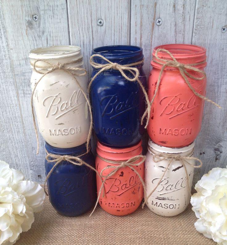 Pint Mason Jars Navy Blue Coral Cream Painted Mason Jars Rustic Wedding Centerpieces Baby Shower