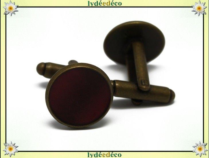 2 boutons de manchettes costume rétro résine rouge bordeaux laiton bronze 14mm