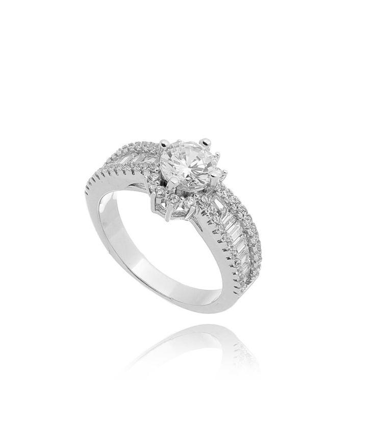 anel solitario sofisticado prata cravejado