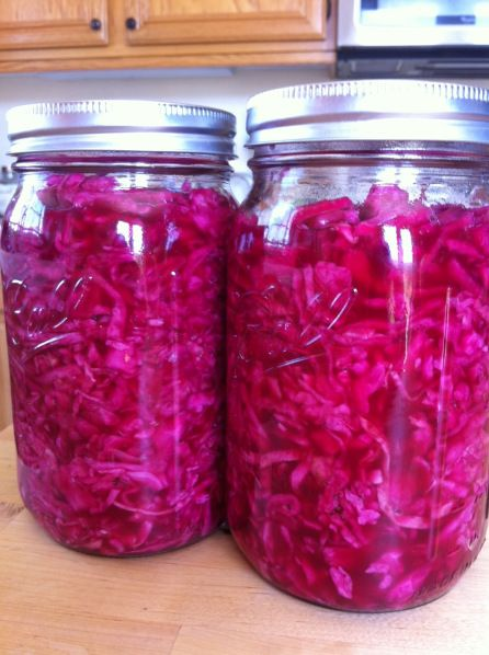 Red Cabbage Sauerkraut (actually the recipe this time)