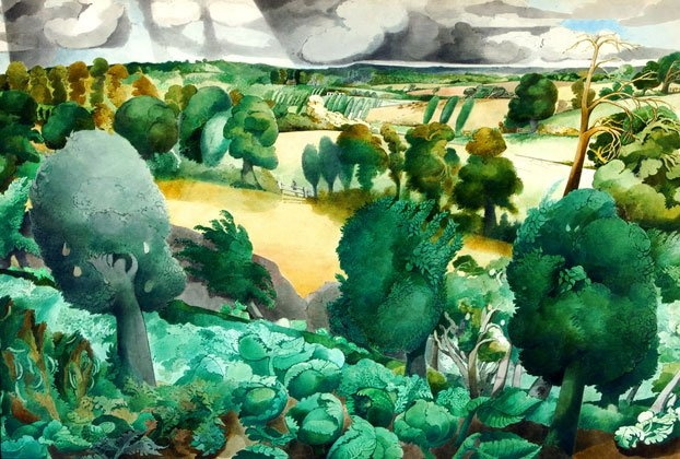 Edward Burra. 'Cabbages, Springfield, Rye'. Watercolour and pencil on paper. 1937.