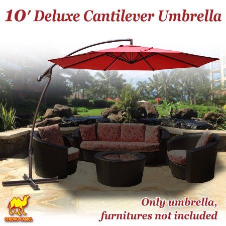 Strong Camel 10' Cantilever Patio Umbrella OffSet Hanging Banana Sunshade Garden -Burgundy, Red