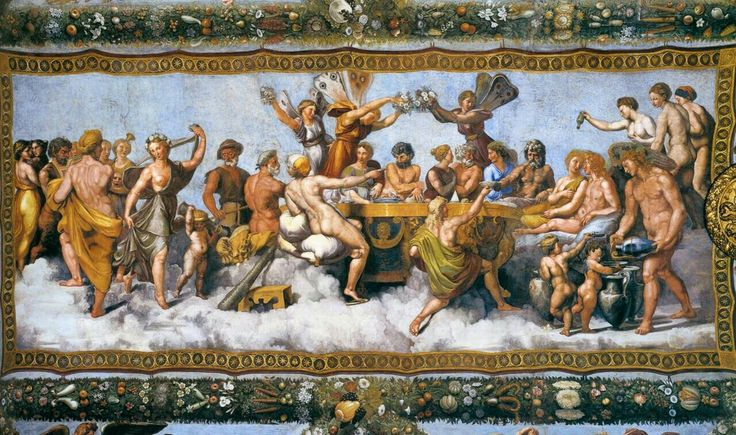 The Wedding Banquet of Cupid and Psyche(1517) by Raphael and his workshop, from the Loggia di Psiche (it), Villa Farnesina