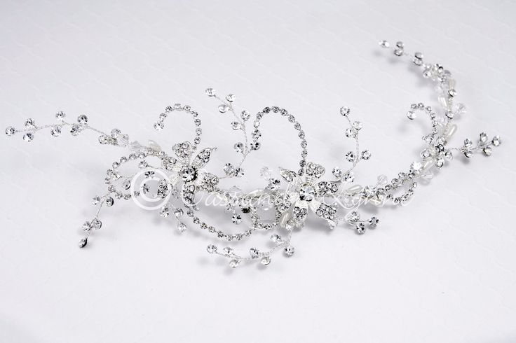 Bridal Hair Vine with Jewel Flowers and Teardrop Pearls