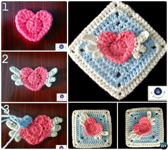 #Crochet 3D Angel Heart Granny Square Free Pattern