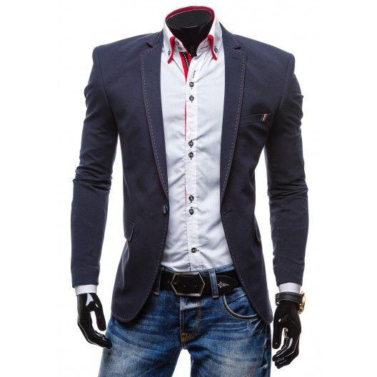 Dlhšie pánske sako tmavomodrej farby - fashionday.eu