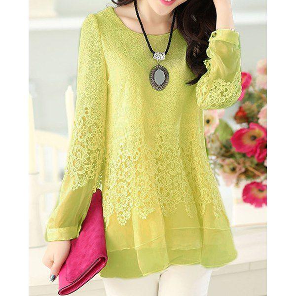 Sweet Scoop Neck Lace Splicing Long Sleeve Women's T-Shirt, BEIGE, M in Tees & T-Shirts | DressLily.com