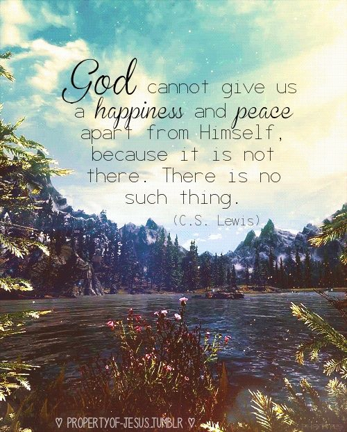 God cannot give us a happiness and peace apart from Himself because it is not there, there is no such thing. ~ CS Lewis  Look to God.  He provides our everything.