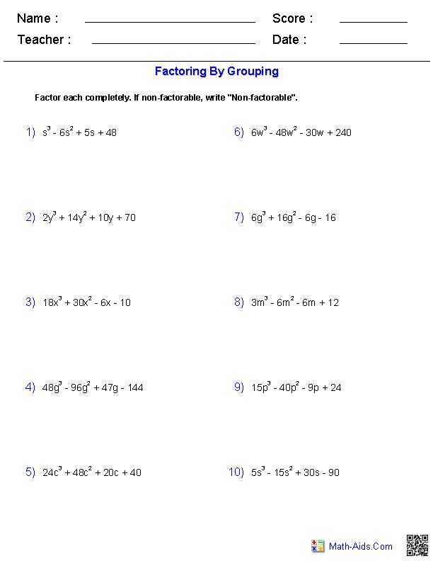 Factoring Trinomials By Grouping Worksheet Rringband – Gcf Factoring Worksheet