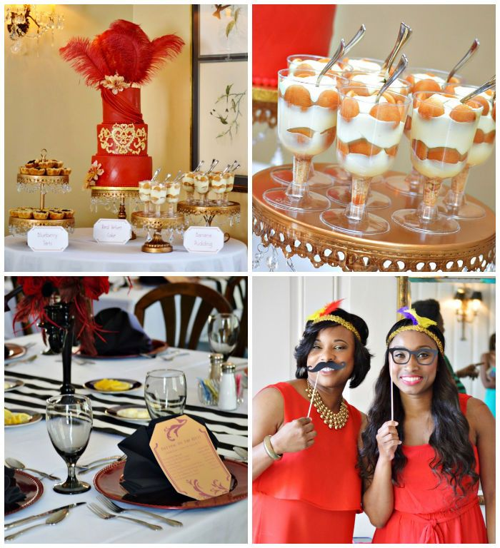 Harlem Renaissance Themed Bridal Shower via Kara's Party Ideas //What a fun party theme for a bridal shower! I especially love the darling desserts, including the amazing cake with giant red feathers atop! I also love the cute feather hairpieces! How fun are they?! This party is so great and has so many fantastic ideas that could work for a bridal shower or birthday party!