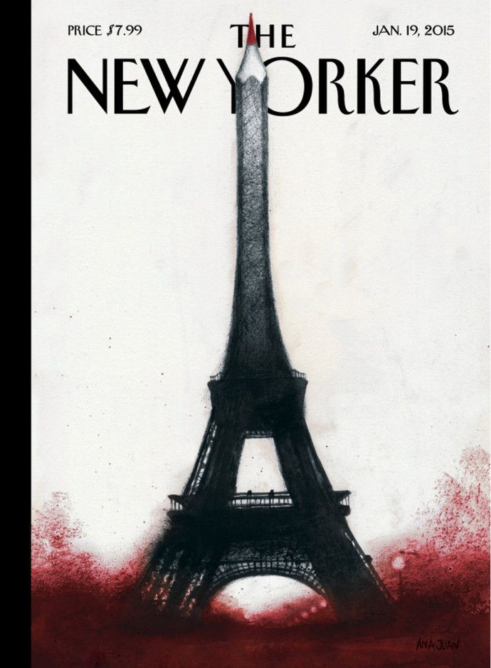 Next week's New Yorker cover tranforms the tip of Paris's Eiffel Tower into a red pencil in a tribute to the fallen staff of Charlie Hebdo.