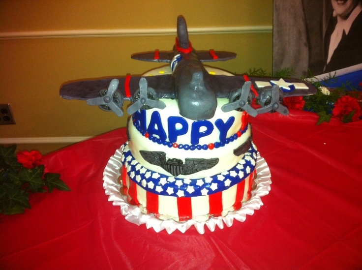 Military Cake for Richard, He turned 90 today, flew a B-17 Bomber in WWI.  What a blessing to America!!!