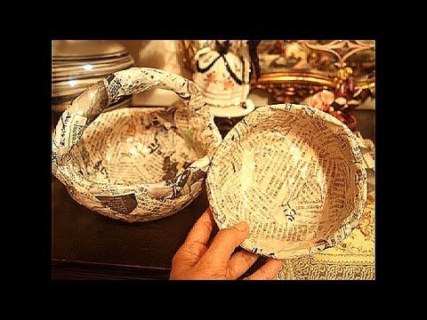 ▶ Part 1 - of making a hat from newspaper - Need the bowl for crown of hat - Newspaper recycling..How to make solid Basket and Bowl..part 1 - YouTube (would work well for dolls hats too - especially to sample the ideas)