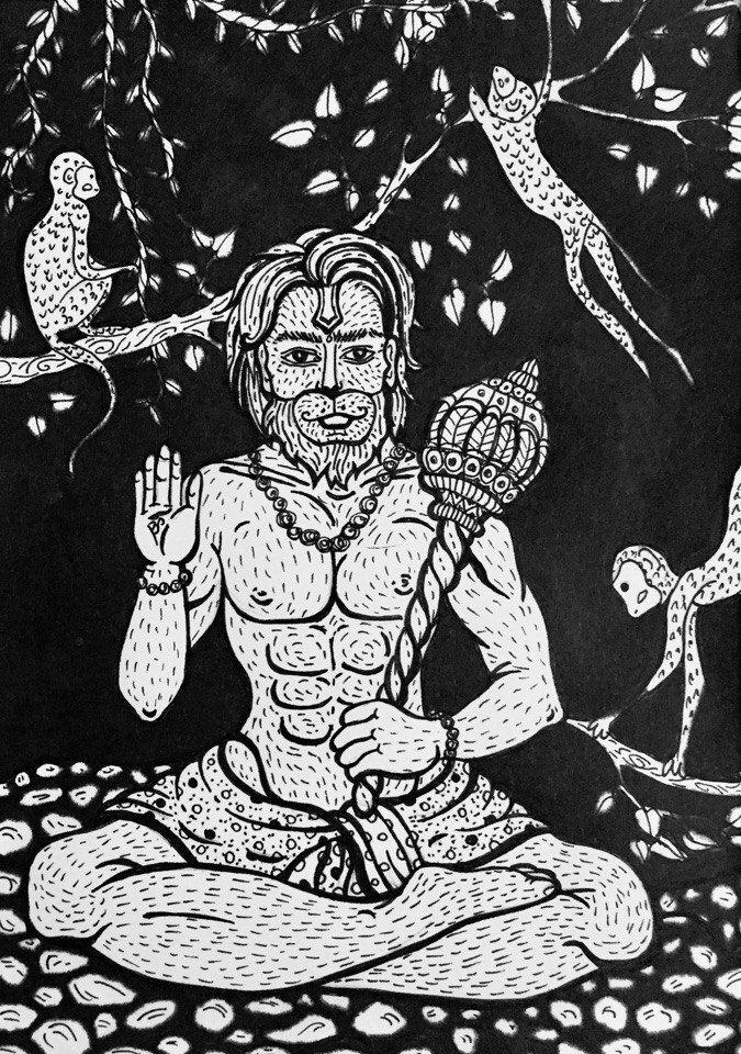 #MariVeselaya #Art #Graphics #Sketch #Hanuman #God #Monkey #Wind