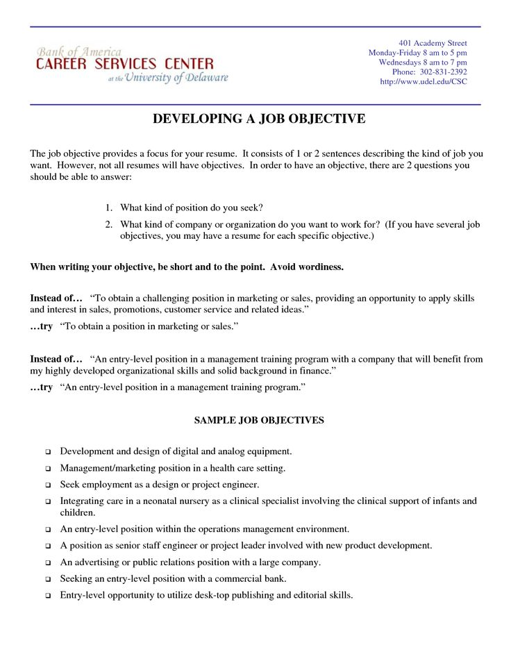 Pinterestu0027te 25u0027ten fazla benzersiz Objectives sample fikri Özgeçmiş - resume job objectives