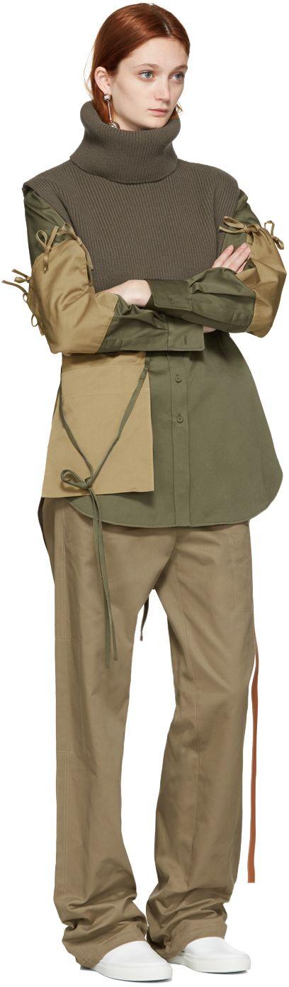 Ports 1961: Green Wool Turtleneck Collar   SSENSE
