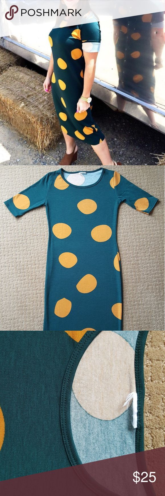 LuLaRoe Julia Dress Polka Dots Green Yellow Pretty LuLaRoe Julia dress in a dark green background with yellow mustard gold polka dot pattern size XXS - Extra Extra Small. This is like a fitted shirt and Cassie pencil skirt combined into one! Perfect to ad