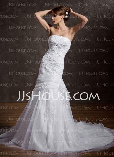 Mermaid Strapless Chapel Train Organza  Satin Wedding Dresses With Ruffle  Lace  Beadwork (002000598)  $225.00