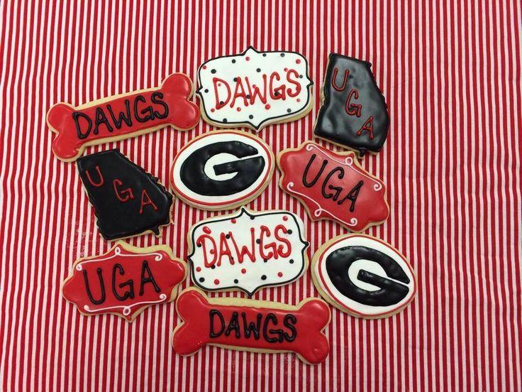 University of Georgia Bulldogs Sugar Cookies by Borosimplysweet on Etsy https://www.etsy.com/listing/197978615/university-of-georgia-bulldogs-sugar