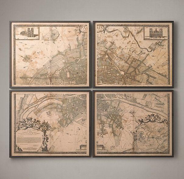 1672 Plan De Paris Four Panel Map Maps Restoration Hardware