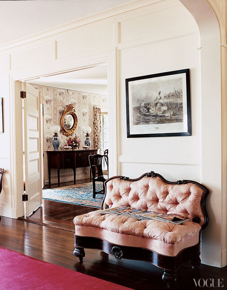 In the front hall, Washington crosses the Delaware above the house\'s original love seat. - Vogue: Decor, Vogue, Interior Design, Marina Rust, Interiors, Living Room, House, Homes, Photo