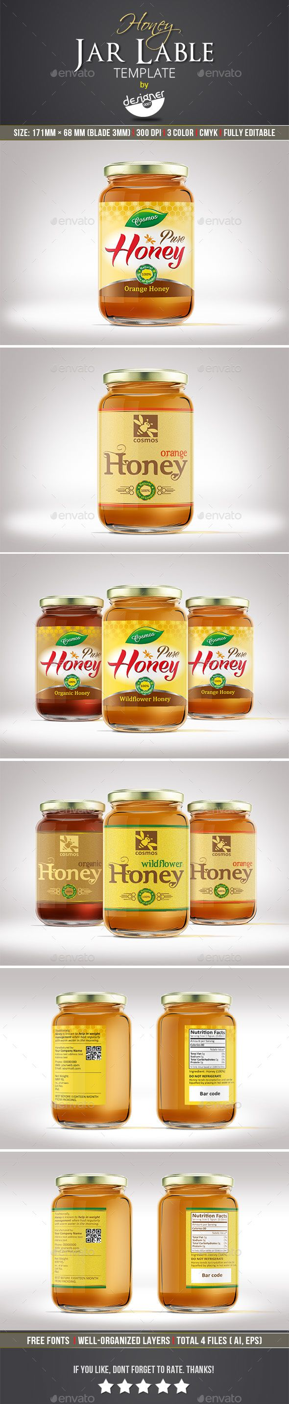 Honey Jar Label Design Template - Packaging Design Templates Vector EPS, AI Illustrator. Download here: https://graphicriver.net/item/honey-jar-label-template/16993628?s_rank=48&ref=yinkira