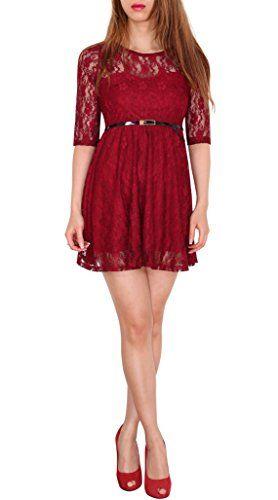 SODACODA 3 4-Arm Damen Prinzessin süßes Spitzenkleid Partykleid Ballkleid Minikleid - EXTRA KURZ - Alle Farben und Größen (S-L) (XL (38), Wein Rot)