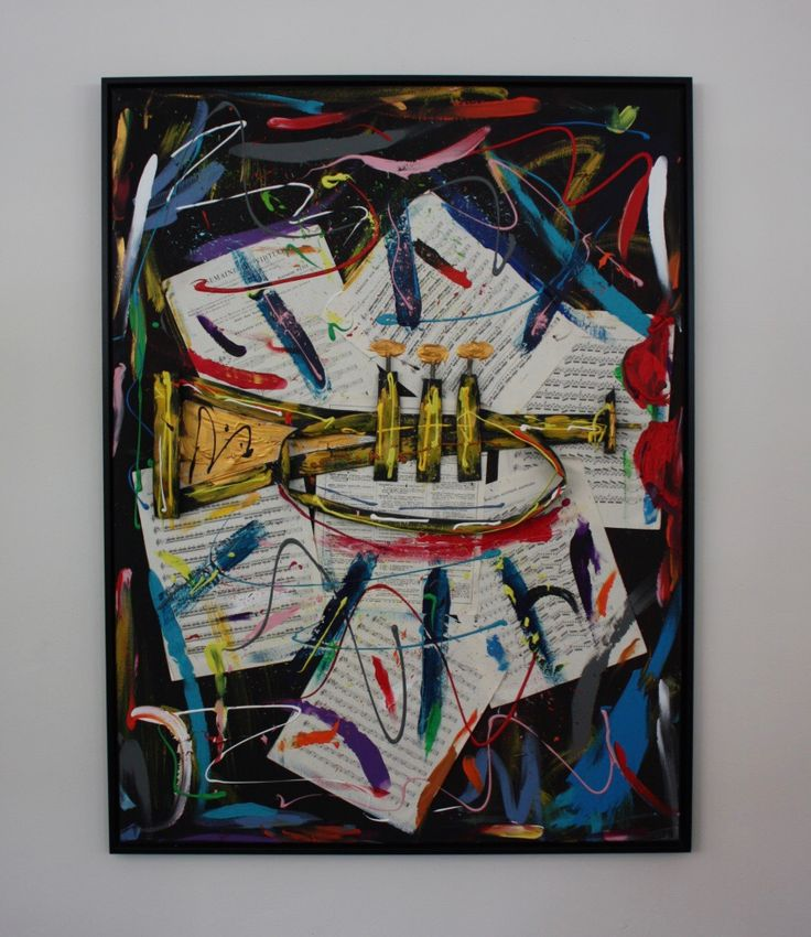 TRIBUTE TO THE TRUMPET - 93 x 123, bicycle tube on canvas, music sheets, acrylic paint - framed