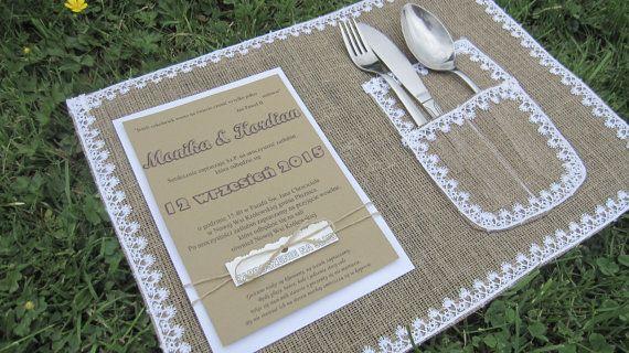 PLACEMAT Wedding Table Decorations Burlap Lace by moniaflowers
