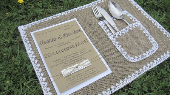 PLACEMAT Wedding Table Decorations Burlap Lace by moniaflowers