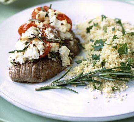 Lamb steaks with feta, tomato & rosemary