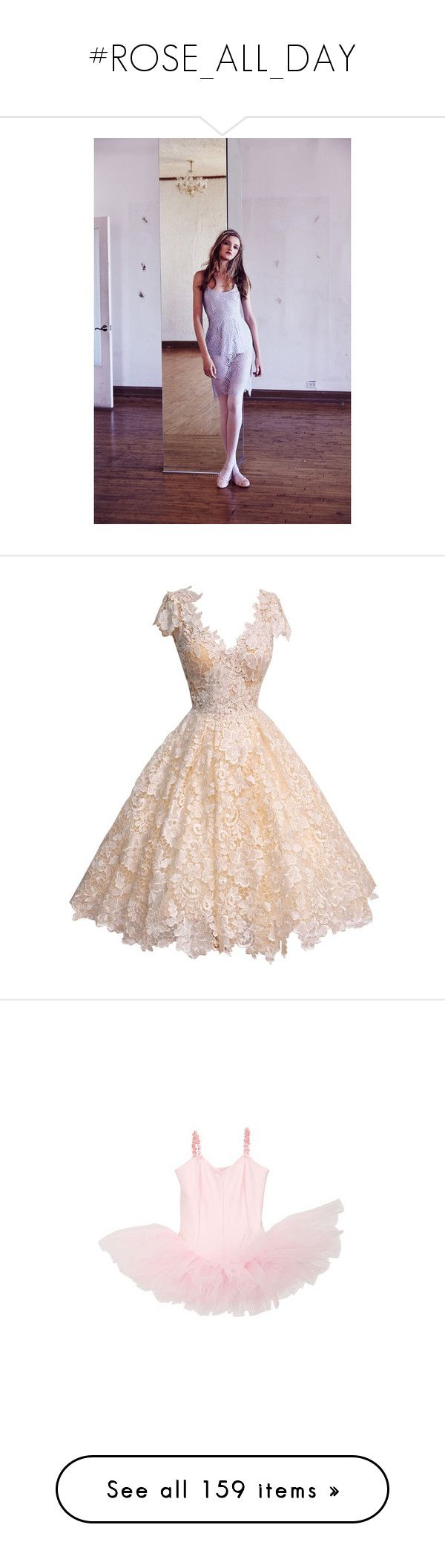 """""""#ROSE_ALL_DAY"""" by nygogi ❤ liked on Polyvore featuring dresses, short dresses, vestidos, gowns, vintage cocktail dresses, short sleeve dress, lace midi dress, midi cocktail dress, short pink dress and Vanity Fair"""
