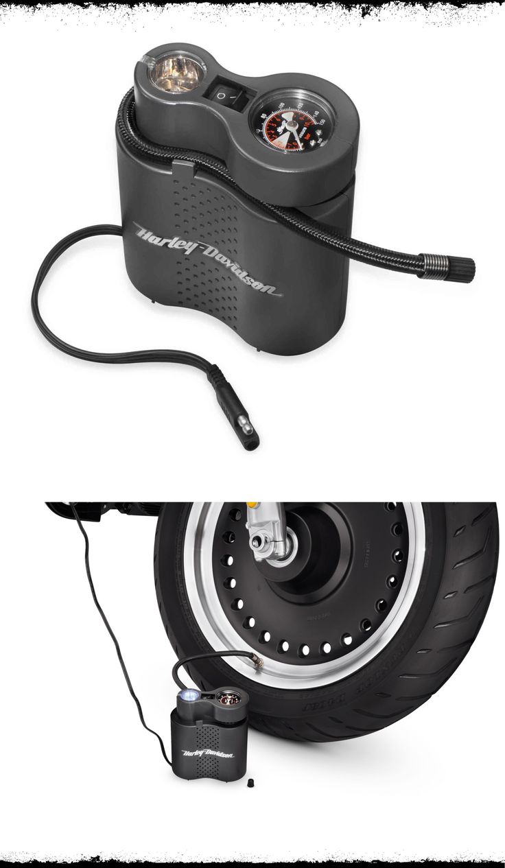 Correct tire pressure is crucial to the safe operation and long tire life, but checking the pressure, finding a gas station with a working air pump, and filling the tire is a chore that many of us ignore. | Harley-Davidson Compact Air Compressor with Light #FathersDay