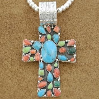 Large Turquoise and Gaspeite Sterling Silver Cross Pendant