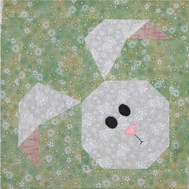 Paper Pieced Bunny Quilt Block by WendysKnitch, via Flickr