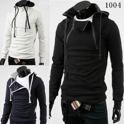 High-quality dual-zipper design fashion breast thick cotton hooded sweater