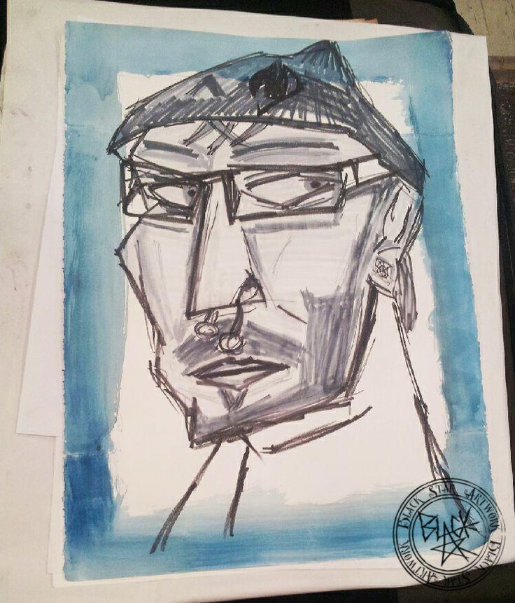 """Self Portrait #3""  22"" x 30"" Water colour and charcoal on paper Black Star Artwork by Leonard Walsh  www.facebook.com/BlackStarArtwork http://bit.ly/1bCN2xI"