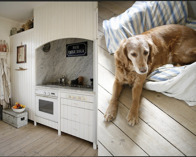 scandinavian kitchen, rustic cabin, white painted wood, light bleached wood floors, painted wood cabinets,