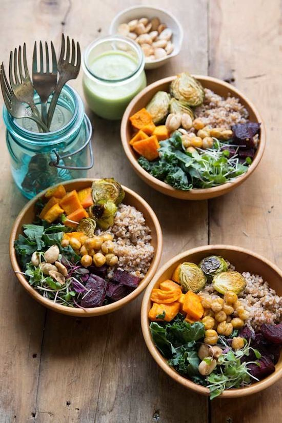 Buddha bowls - a good way towards your five a day with healthy grains or brown rice and roasted veg.
