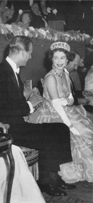 """A smile for my darling"": Queen Elizabeth II (Elizabeth Alexandra Mary) (1926-living2013) UK & husband Prince Phillip Duke of Edinburgh (Philip Mountbatten-born Prince Philip) (1921-living2013) Greece, by unknown artist."