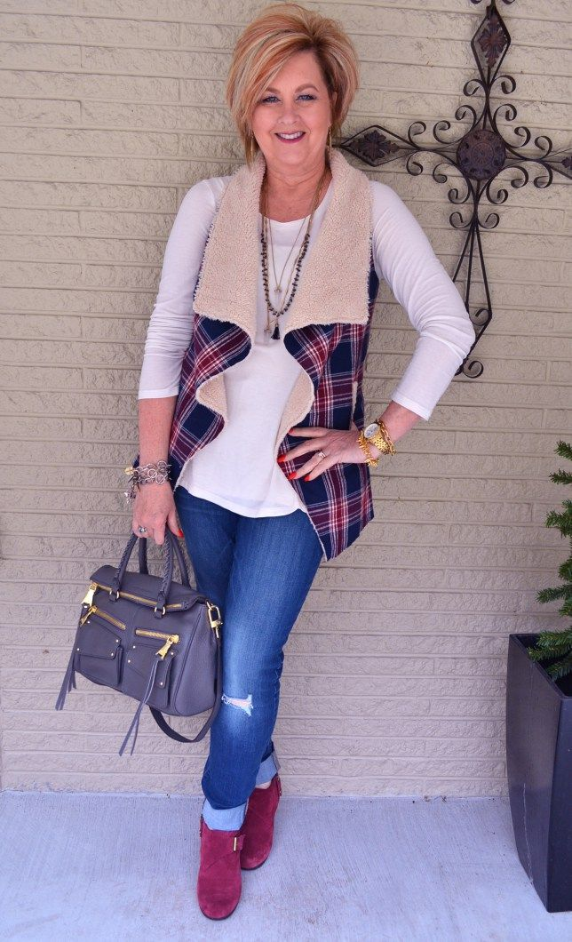 50 Is Not Old | You Snooze, You Lose | Plaid + Shearling Vest + Jeans | Fashion over 40 for the everyday woman