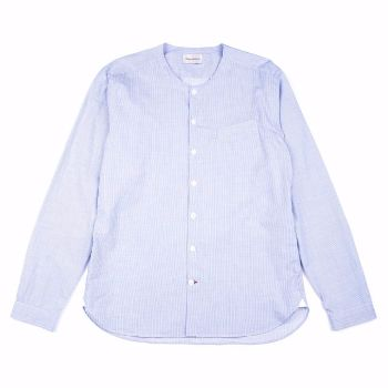 Oliver Spencer Oliver Spencer - Blue Tarifa Collarless Shirt: The Oliver Spencer Tarifa shirt is collarless, with grandad style cuffs for a clean look. Cut from pure cotton in a Broadstone sky blue and white fine stripe. Slim to straight fit, finished with side gussets, and a contrast buttonhole.