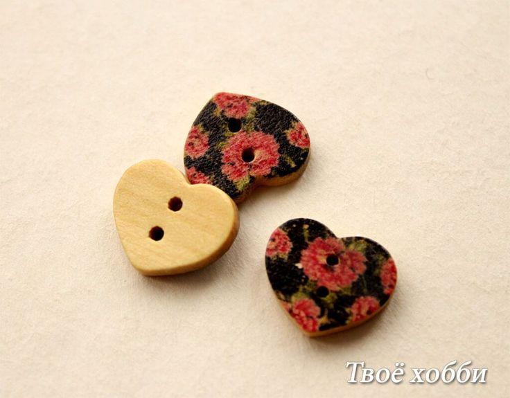 Пуговица-сердце цветочный принт