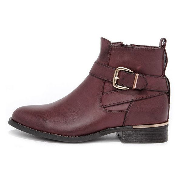 Desert Rose Burgundy Ankle Boots ($57) ❤ liked on Polyvore featuring shoes, boots, ankle booties, ankle boots, red, low heel booties, red booties, side zip boots, burgundy booties and block-heel ankle boots