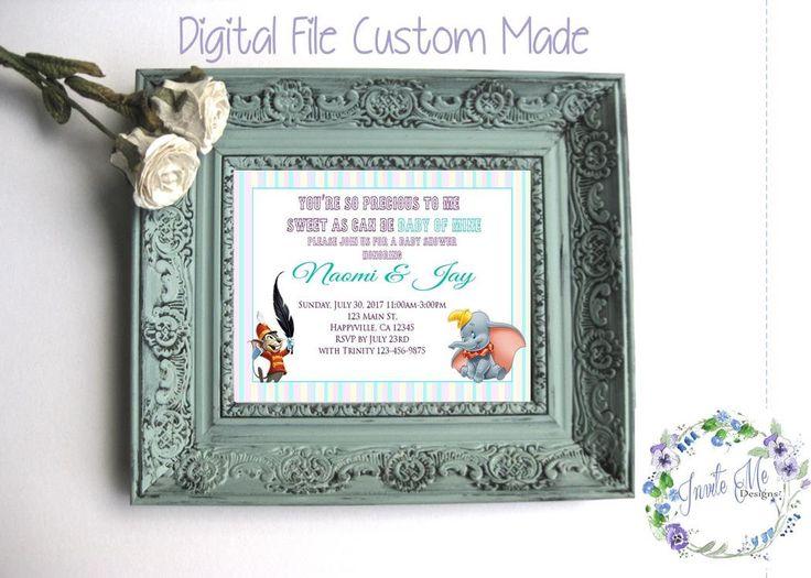 Dumbo Baby Girl Invitation, Baby Shower Invitation, DIY Printing, Digital File by InviteMeDesignShop on Etsy