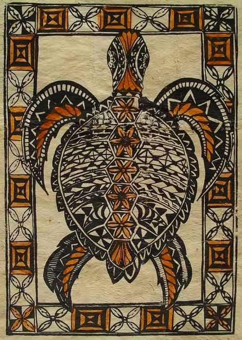 Hand-painted turtle tapa cloth from Fiji