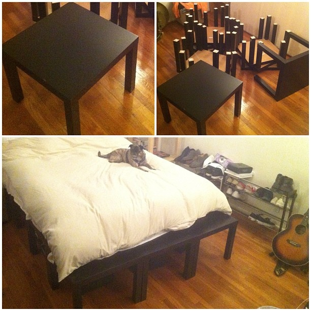 Twelve $7 Ikea side tables + zipties + a bunch of forearm strength and a little imagination = SICK PLATFORM BED FRAME!