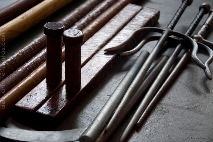 martial arts weapons, kama, tonfa, and sai. #martialartsweapons #weapons