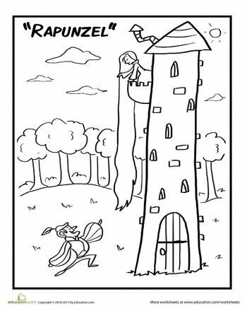 Worksheets: Rapunzel and Prince Coloring Page